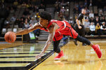 Southeast Missouri State forward Sage Tolbert dives for a loose ball in the first half of an NCAA college basketball game against Vanderbilt Wednesday, Nov. 6, 2019, in Nashville, Tenn. (AP Photo/Mark Humphrey)
