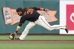 San Francisco Giants shortstop Brandon Crawford fields a grounder by Atlanta Braves' Jorge Soler, who was out at first during the first inning of a baseball game in San Francisco, Saturday, Sept. 18, 2021. (AP Photo/Jeff Chiu)