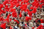 Georgia fans cheer during the first half of an NCAA college football game against UAB, Saturday, Sept. 11, 2021, in Athens, Ga. (AP Photo/John Bazemore)