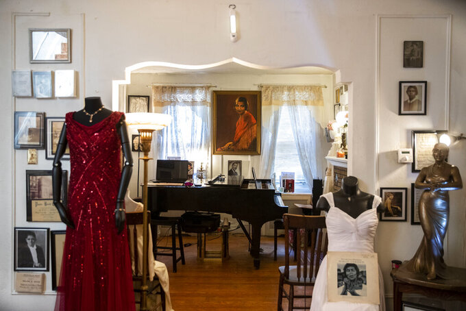 Music rooms one and two at the Marian Anderson Museum & Historical Society in Philadelphia, are show on Monday, June 28, 2021.  A proposed Broad Street sculpture honoring Anderson is advancing and will hopefully bring critical funding to the South Philadelphia house museum long devoted to the singer. (Monica Herndon/The Philadelphia Inquirer via AP)