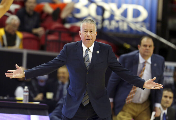 Air Force head coach Dave Pilipovich gestures during the second half of an NCAA college basketball game against Fresno State in the Mountain West Conference men's tournament Thursday, March 14, 2019, in Las Vegas. (AP Photo/Isaac Brekken)