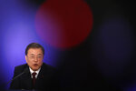 South Korean President Moon Jae-in speaks during his New Year press conference at the presidential Blue House in Seoul, South Korea, Tuesday, Jan. 14, 2020. (Kim Hong-Ji/Pool Photo via AP)