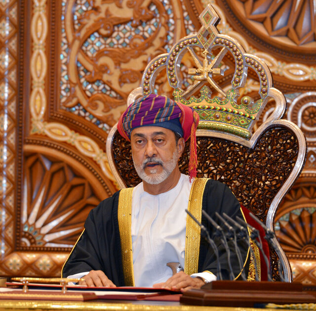 In this photo made available by Oman News Agency, Oman's new sultan Haitham bin Tariq Al Said, makes his first speech after swearing in at the Royal Family Council in Muscat, Oman, Saturday, Jan. 11, 2020. Sultan Qaboos bin Said, the Mideast's longest-ruling monarch who seized power in a 1970 palace coup and pulled his Arabian sultanate into modernity while carefully balancing diplomatic ties between adversaries Iran and the U.S., has died. He was 79. (Oman News Agency via AP)
