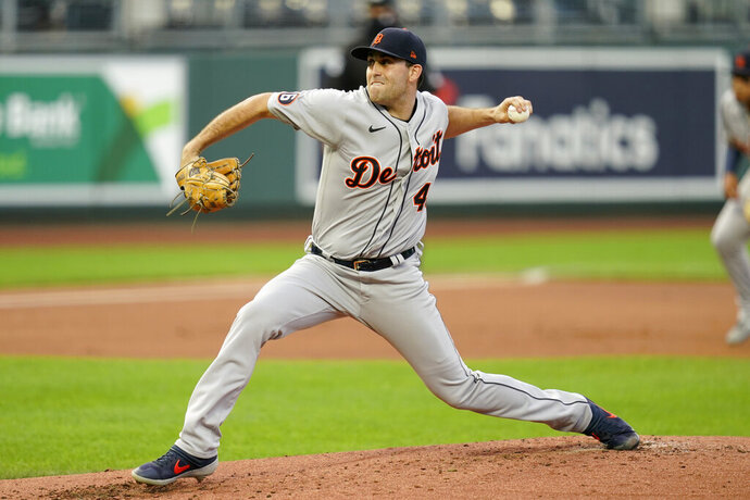 Detroit Tigers starting pitcher Matthew Boyd delivers to a Kansas City Royals batter during the first inning of a baseball game at Kauffman Stadium in Kansas City, Mo., Saturday, Sept. 26, 2020. (AP Photo/Orlin Wagner)