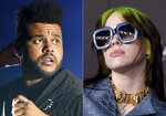The Weeknd performs at Lollapalooza in Chicago on Aug 4, 2018, left, and Billie Eilish appears at the 2019 LACMA Art and Film Gala in Los Angeles on Nov. 2, 2019. Eilish and The Weekend were nominated for six MTV Video Music Awards. The 2020 MTV Video Music Awards will air live on Aug. 30 from the Barclays Center in Brooklyn. (AP Photo)