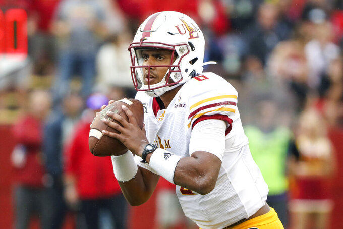 FILE - In this Sept. 21, 2019, file photo, Louisiana-Monroe quarterback Caleb Evans is shown during an NCAA football game against Iowa State, in Ames, Iowa. Louisiana-Monroe plays at No. 24 Appalachian State on Saturday, Oct. 19. (AP Photo/Justin Hayworth, File)