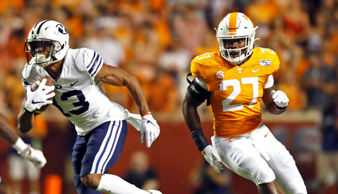 In this Sept. 7, 2019, photo, Tennessee freshman linebacker Quavaris Crouch (27) plays against Brigham Young in an NCAA college football game in Knoxville, Tenn. Tennessee plans to rely more on their younger players as they attempt to recover from their worst start in over three decades.(AP Photo/Wade Payne)