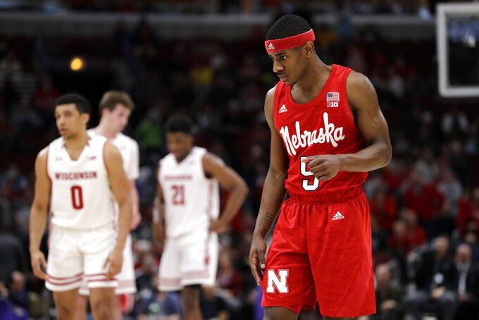 Nebraska's Glynn Watson Jr. (5) reacts during the second half of an NCAA college basketball game against the Wisconsin in the quarterfinals of the Big Ten Conference tournament, Friday, March 15, 2019, in Chicago. Wisconsin won 66-62. (AP Photo/Nam Y. Huh)