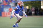 FILE - In this Aug. 24, 2019, file photo, Florida defensive back CJ Henderson (1) follows a play during the first half of an NCAA college football game against Miami in Orlando, Fla. The Jacksonville Jaguars selected Henderson in the first round of the NFL draft. (AP Photo/Phelan M. Ebenhack, File)