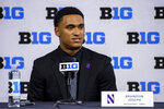 FILE - In this July 22, 2021, file photo, Northwestern safety Brandon Joseph talks to reporters during an NCAA college football news conference at the Big Ten Conference media days at Lucas Oil Stadium in Indianapolis. Joseph was selected to The Associated Press Preseason All-America first team defense, Monday Aug. 23, 2021.(AP Photo/Doug McSchooler, File)