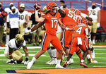 Syracuse quarterback Rex Culpepper (17)  during the first half of an NCAA college football game against Wake Forest on Saturday, Oct. 31, 2020, in Syracuse, N.Y. (Dennis Nett/The Post-Standard via AP)