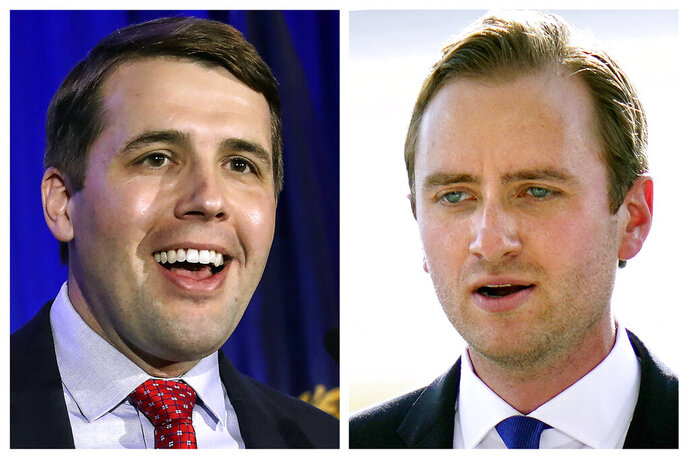 FILE - This photo combo shows incumbent U.S. Rep Chris Pappas, D-NH, left, and Republican challenger Matt Mowers, right, candidates in New Hampshire's 1st Congressional District in Nov. 3, 2020, general election. (AP Photos, File)