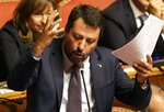 "FILE - In this Tuesday, Sept. 10, 2019 file photo, The League's Matteo Salvini makes his statement at the Senate ahead of a second confidence vote for Italian Premier Giuseppe Conte's coalition government, in Rome. Italy's politically battered Matteo Salvini and ally Giorgia Meloni are preparing for a weekend march on Rome to rally the right-wing after Salvini's political miscalculation got him ousted from his powerful post as interior minister. Meloni's post-fascist Brothers Of Italy party is growing in popularity as Italy's political landscape shifts even more toward the right. Salvini calls the rally ""a peaceful day of Italian pride"" but many believe it will attract far-right extremists. (AP Photo/Gregorio Borgia, File )"