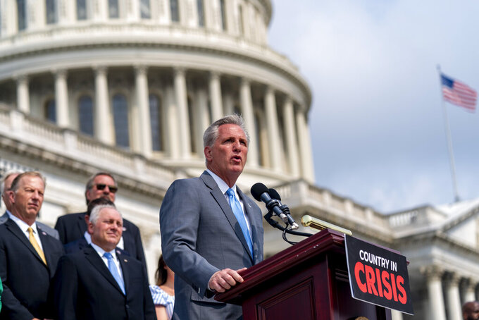 House Minority Leader Kevin McCarthy of Calif., speaks at a news conference on the steps of the Capitol in Washington, Thursday, July 29, 2021, to complain about Speaker of the House Nancy Pelosi, D-Calif., the leadership of President Joe Biden, and guidelines on face masks by the Centers for Disease Control. (AP Photo/Andrew Harnik)