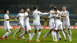 Leeds United's Rodrigo, 2nd right, celebrates after scoring his side's first goal during the English Premier League soccer match between Leeds United and Manchester City at Elland Road in Leeds, England, Saturday, Oct. 3, 2020. (Cath Ivill/Pool via AP)