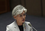 FILE - In this Tuesday, July 9, 2019, file photo, South Korean Foreign Minister Kang Kyung-wha answers questions during a plenary session at National Assembly in Seoul, South Korea. South Korea said Thursday, July 11, 2019, Kang discussed the issue with U.S. Secretary of State Mike Pompeo by phone and conveyed Seoul's view that Japan's