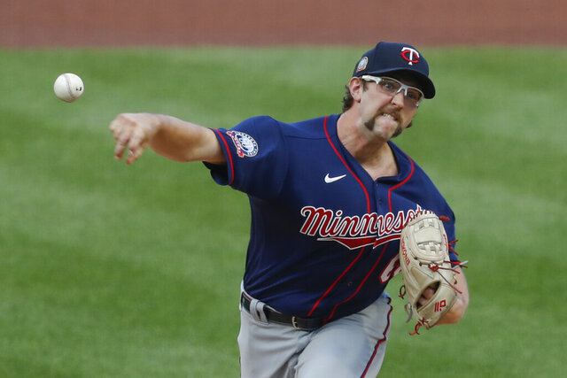 Minnesota Twins starter Randy Dobnak pitches against the Pittsburgh Pirates in the first inning of a baseball game, Wednesday, Aug. 5, 2020, in Pittsburgh. (AP Photo/Keith Srakocic)