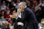 Rutgers coach Steve Pikiell yells instructions during the first half of the team's NCAA college basketball game against Nebraska in Lincoln, Neb., Friday, Jan. 3, 2020. (AP Photo/Nati Harnik)
