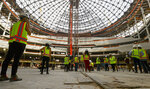 """An interior view as construction continues during a tour of the Madison Square Garden Sphere at The Venetian in Las Vegas on Thursday, June 17, 2021.  Officials planned a """"topping out"""" ceremony Friday after providing a media tour Thursday inside the domed frame of the venue. It's set for completion in 2023. (Chase Stevens /Las Vegas Review-Journal via AP)"""
