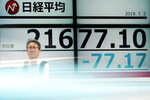 A man stands near an electronic stock board showing Japan's Nikkei 225 index at a securities firm in Tokyo Wednesday, July 3, 2019. Shares fell back in Asia on Wednesday as the euphoria from President Donald Trump's truce with China's Xi Jinping on trade faded. (AP Photo/Eugene Hoshiko)
