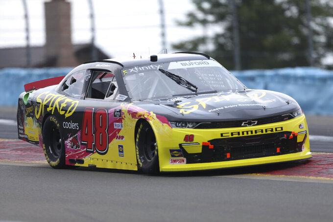 Jade Buford drives between Turn 1 and the Esses in the NASCAR Xfinity Series auto race at Watkins Glen International in Watkins Glen, N.Y., on Saturday, Aug. 7, 2021. (AP Photo/Joshua Bessex)