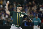 Oakland Athletics starting pitcher Mike Fiers throws against the Seattle Mariners during the first inning of a baseball game, Friday, Sept. 27, 2019, in Seattle. (AP Photo/Ted S. Warren)