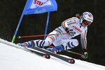 Germany's Viktoria Rebensburg competes in the first run of an alpine ski, women's World Cup giant slalom, in Spindleruv Mlyn, Czech Republic, Friday, March. 8, 2019. (AP Photo/Marco Tacca)