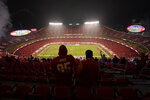 Fans watch the Kansas City Chiefs play the Houston Texans in the second half of an NFL football game Thursday, Sept. 10, 2020, in Kansas City, Mo. (AP Photo/Charlie Riedel)