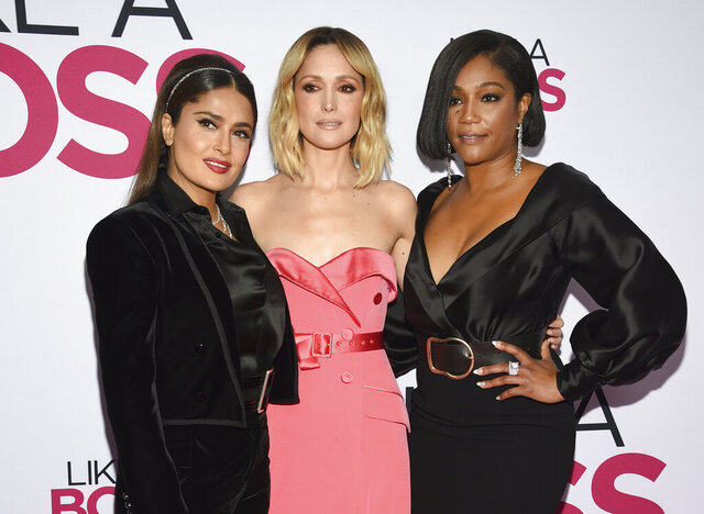 Actors Salma Hayek, left, Rose Byrne and Tiffany Haddish attend the world premiere of