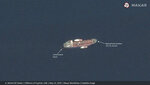 This satellite image provided by Maxar Technologies shows the Emirati-flagged oil tanker A. Michel off the coast of Fujairah, United Arab Emirates, Monday, May 13, 2019. As many as four oil tankers anchored in the Mideast were damaged in what Gulf officials described Monday as a