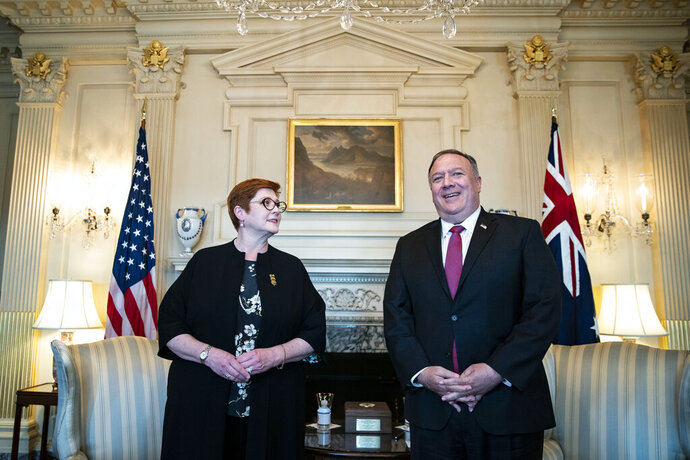 Secretary of State Mike Pompeo meets with Australia's Foreign Minister Marise Payne at the State Department in Washington, Monday, July 27, 2020. (Alexander Drago/Pool via AP)