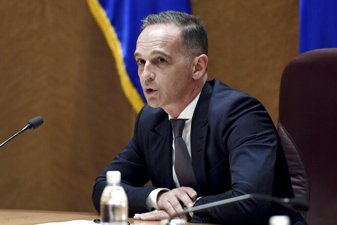 German Foreign Minister Heiko Maas speaks during a meeting with Secretary of State Antony Blinken at  Ramstein Air Base in south-western Germany, Wednesday, Sept. 8, 2021. (Olivier Douliery/Pool via AP)
