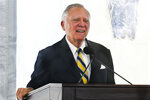 FILE - In this Tuesday, Feb. 11, 2020, file photo, former Georgia Gov. Nathan Deal speaks during a dedication of the state's new Nathan Deal Judicial Center, in Atlanta. Republicans have criticized a push by some Democrats to expand the number of seats on the U.S. Supreme Court, but their tune has changed when it comes to the highest courts at the state level. In 2016, Deal signed into law measures expanding the number of seats on the Georgia state Supreme Court. (AP Photo/John Amis, File)