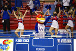 Baby Jay joins members of the Kansas cheer squad at an NCAA college basketball game between Kansas and West Virginia on Tuesday, Dec. 22, 2020, in Lawrence, Kan. (Evert Nelson/The Topeka Capital-Journal via AP)
