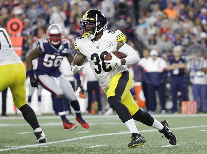 Pittsburgh Steelers running back Jaylen Samuels carries the ball in the first half an NFL football game against the New England Patriots, Sunday, Sept. 8, 2019, in Foxborough, Mass. (AP Photo/Steven Senne)