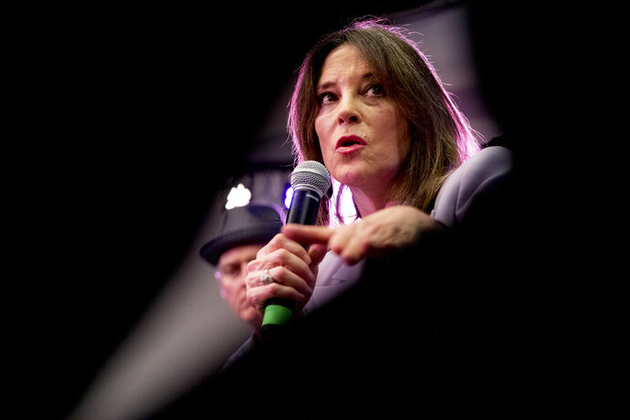 Democratic presidential candidate Marianne Williamson speaks at a the Faith, Politics and the Common Good Forum at Franklin Jr. High School, Thursday, Jan. 9, 2020, in Des Moines, Iowa. (AP Photo/Andrew Harnik)