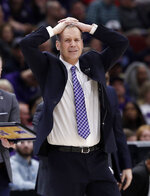 Northwestern head coach Chris Collins reacts as he watches his team during the second half of an NCAA college basketball game against Illinois in the first round of the Big Ten Conference tournament in Chicago, Wednesday, March 13, 2019. Illinois won 74-69 in overtime. (AP Photo/Nam Y. Huh)