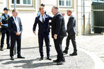 Danish Foreign Minister Jeppe Kofod, centre left, greets US Secretary of State Mike Pompeo, upon his arrival to the Ministry of Foreign Affairs, Eigtveds Pakhus, in Copenhagen, Denmark, Wednesday, July 22, 2020. Pompeo arrived in Denmark on Wednesday for meetings with the country's leaders that are likely to address the construction of a disputed gas pipeline which Washington opposes. (Thibault Savary/Pool Photo via AP)