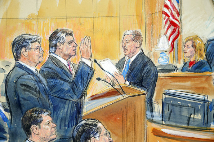 This courtroom sketch depicts former Donald Trump campaign chairman Paul Manafort, center, and his defense lawyer Richard Westling, left, before U.S. District Judge Amy Berman Jackson, seated upper right, at federal court in Washington, Friday, Sept. 14, 2018, as prosecutors Andrew Weissmann, bottom center, and Greg Andres watch. Manafort has pleaded guilty to two federal charges as part of a cooperation deal with prosecutors. The deal requires him to cooperate