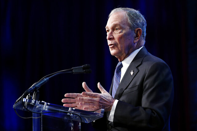 Democratic presidential candidate former New York City Mayor Michael Bloomberg speaks at the ​U.S. Conference of Mayors' Winter Meeting, Wednesday, Jan. 22, 2020, in Washington. (AP Photo/Patrick Semansky)