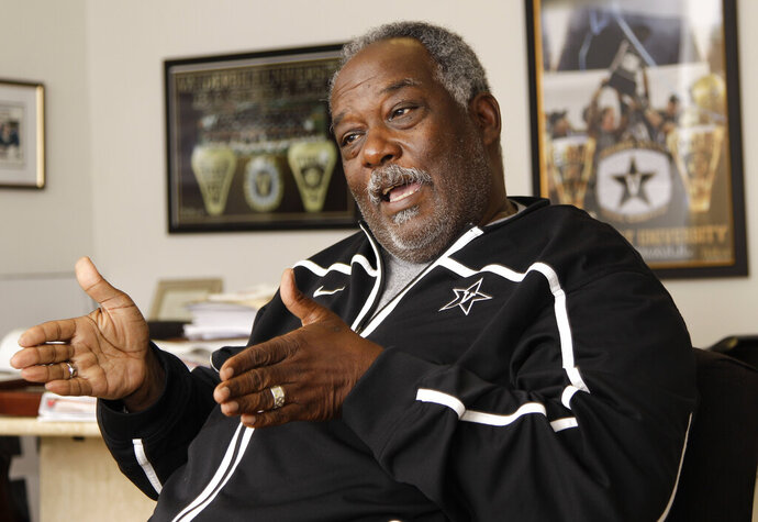 FILE - In this June 13, 2012, file photo, then-Vanderbilt Vice Chancellor David Williams II talks about improvements being made to athletic facilities at the school, in Nashville, Tenn. David Williams II, the first black athletic director in Southeastern Conference history, has died. He was 71.  Vanderbilt officials said Williams died Friday, Feb. 8, 2019, at Vanderbilt University Medical Center. A retirement party for Williams had been scheduled for Friday night. (AP Photo/Mark Humphrey, File)