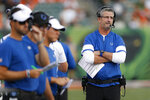 Indianapolis Colts coach Frank Reich stands on the sideline during the first half of the team's NFL preseason football game against the Cincinnati Bengals, Thursday, Aug. 29, 2019, in Cincinnati. (AP Photo/Gary Landers)