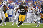 Pittsburgh Steelers running back Najee Harris (22) carries the ball during the second half of an NFL football game against the Buffalo Bills in Orchard Park, N.Y., Sunday, Sept. 12, 2021. (AP Photo/Adrian Kraus)