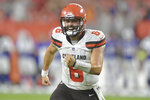 FILE - In this Aug. 17, 2018, file photo, Cleveland Browns quarterback Baker Mayfield celebrates in the second half of the team's NFL football preseason game against the Buffalo Bills in Cleveland. The Browns sure know a lot about losing, but that changed last season when then-rookie quarterback Baker Mayfield helped Cleveland win five of its last seven games. (AP Photo/David Richard, File)