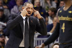 Michigan head coach Juwan Howard yells his team during the first half of an NCAA college basketball game against Northwestern in Evanston, Ill., Wednesday, Feb. 12, 2020. (AP Photo/Nam Y. Huh)