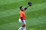 Houston Astros pitcher Framber Valdez celebrates the final out as the Astros beat the Minnesota Twins 4-1 in Game 1 of an American League wild-card baseball series, Tuesday Sept. 29, 2020, in Minneapolis. (AP Photo/Jim Mone)
