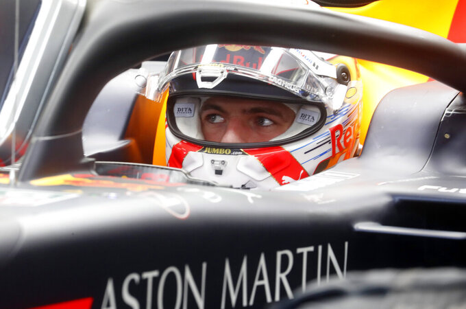 Red Bull driver Max Verstappen of the Netherland's prepares for the second practice session of the Hungarian Formula One Grand Prix at the Hungaroring racetrack in Mogyorod, northeast of Budapest, Hungary, Friday, Aug. 2, 2019. The Hungarian Formula One Grand Prix takes place on Sunday. (AP Photo/Laszlo Balogh)