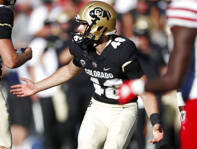 Colorado place kicker James Stefanou celebrates after kicking the go-ahead field goal against Nebraska in overtime of an NCAA college football game Saturday, Sept. 7, 2019, in Boulder, Colo. Colorado won 34-31 in overtime. (AP Photo/David Zalubowski)