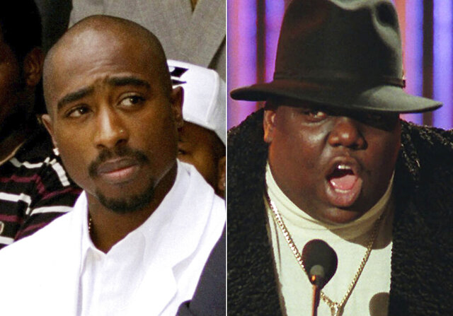 In this combination photo, Tupac Shakur attends a voter registration event in South Central Los Angeles on  Aug. 15, 1996, left, and Notorious B.I.G., winner of best rap artist and rap single of the year, appears at the Billboard Music Awards in New York on Dec. 6, 1995. The late rappers are being united for an auction at Sotheby's, the first-ever dedicated hip-hop auction at a major international auction house. Bidders will be able to vie for the crown worn and signed by the Notorious B.I.G. during a 1997 photo shoot held three days before he was killed in Los Angeles. They'll also get to bid on an archive of 22 autographed love letters written by Shakur at the age of 15 to a high school sweetheart. (AP Photo)