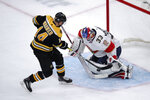 Florida Panthers goaltender Sam Montembeault (33) stops a shot by Boston Bruins right wing Chris Wagner (14) during a shoot out of an NHL hockey game in Boston, Tuesday, Nov. 12, 2019. The Panthers defeated the Bruins 5-4. (AP Photo/Charles Krupa)